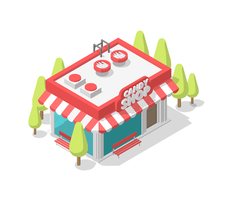 Isometric pink candy shop. Street cafe. Coffee shop single building small kiosk. Showcase entrance signboard, trees. Vector illustration stock clipart. Stock Illustratie