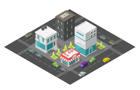 Coffee shop near the office. City street cafe. Town district quarter Isometric the road around. Cars end buildings top view 3d. Vector illustration stock clipart.