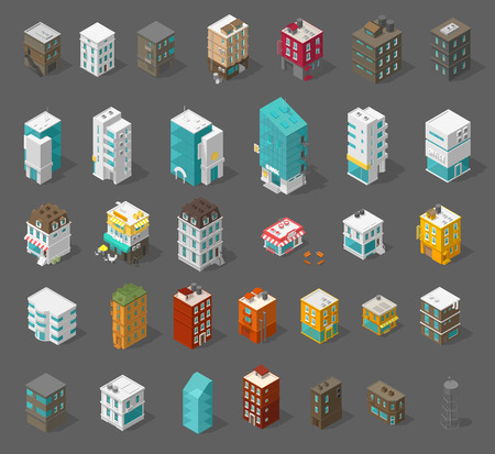 Buildings city set. Isometric top view. Vector town houses. Shop street cafe, offices and bank, residential buildings are different types. Separate icons Illustration stock clipart.