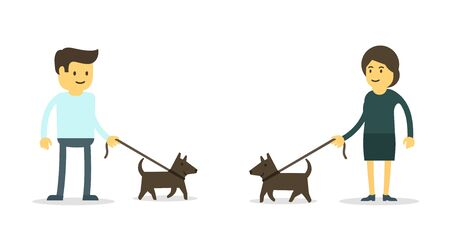 Man and woman with their dogs. Walking pets. Illustration