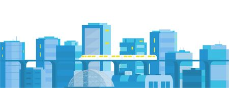 City landscape horizontal banner. Modern architecture, buildings, skyscrapers. Train crossing the rail subway railway.