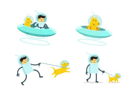Spaceman and his dog walking.
