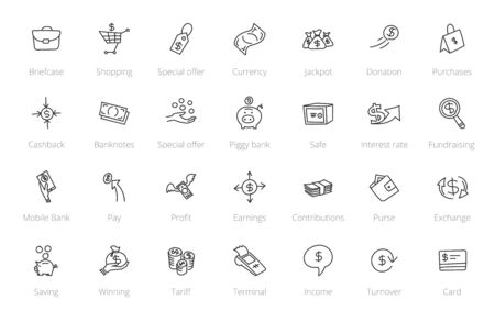 Money and finance set of icons. Иллюстрация