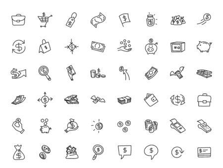 Money and finance set of icons. Illustration