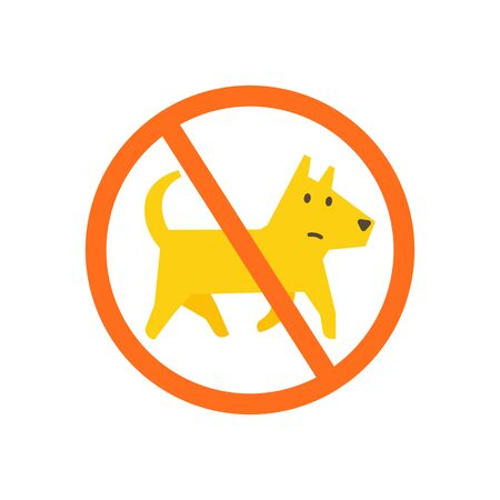 No dogs allowed. Dog walking is prohibited. Sign of the ban in the park. Illustration