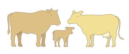 Bull, cow and their calf.