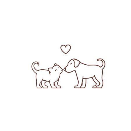 Kitten kisses puppy icon. Çizim