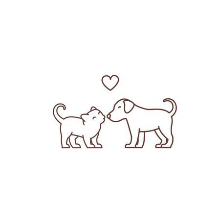 Kitten kisses puppy icon. Illustration