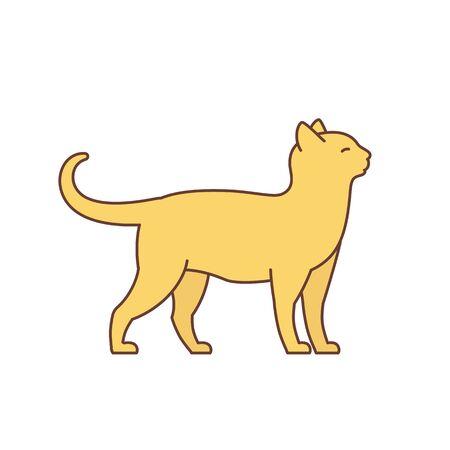 Adult elegant orange cat. Illustration