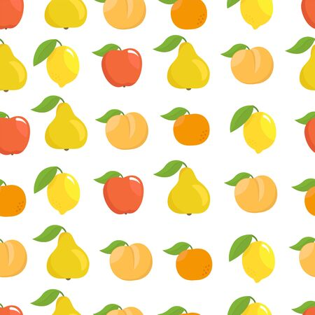 Fruits set seamless pattern background. Apple, peach and lemon mandarin and pear.