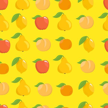 Fruits set seamless pattern background. Apple, peach and lemon mandarin and pear on a yellow background
