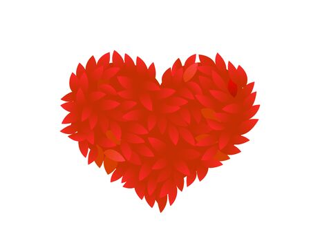 Red rose petals heart. Foliage bush leaves In the red shape of a heart. Love romance design. Thick thickets shrubs. Illustration