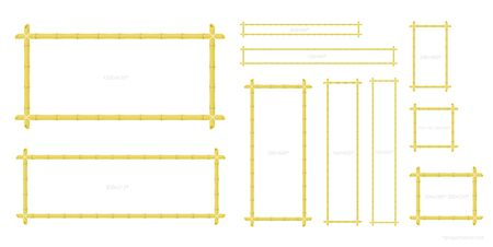 Bamboo banner frame set. All sizes. Yellow dry bamboo stalk. Square rectangle, long and short, wide formats. Vector color Illustration clipart.