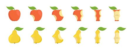 Pear and apple bite stage set. From whole to core gradual decrease. Bitten apple and eaten pear. Animation progression. Flat vector illustration. Illustration