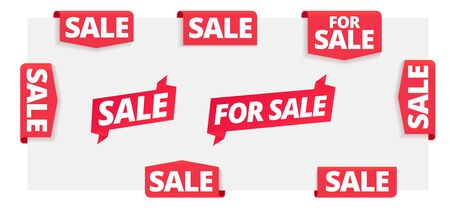 For sale page label. Corner ribbon banners set. Flag, sticker on the edge. Word on red tag headline. Red tape text title. Vector Illustration.