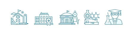 Education science icon set. School, college and university. Bachelor, student. Stages of education. Outline contour blue line. Çizim