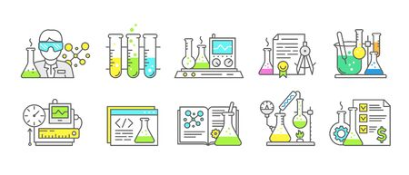 Chemistry science icon set. Measuring production of chemicals kit. Education laboratory research experiments equipment. Outline contour blue line. Ilustracja
