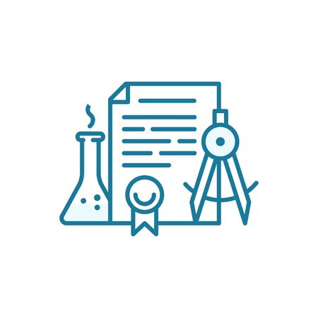 Education document icon. Patent for invention. Educational project. Scientific contract. Outline contour blue line.