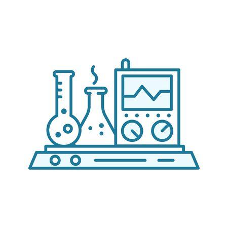 Measurement test analysis icon. Device, chemistry laboratory equipment. Outline contour blue line.