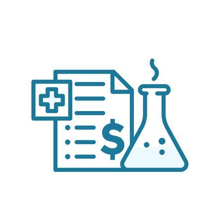 The price of the drug. Medication insurance document icon. Pharmacy health care contract. Outline contour blue line. Illusztráció