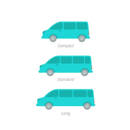 The size of the minivan. Transfer minibus variation. Compact standard long. Transportation of people. Quantity passengers cars. Blue vector icons.