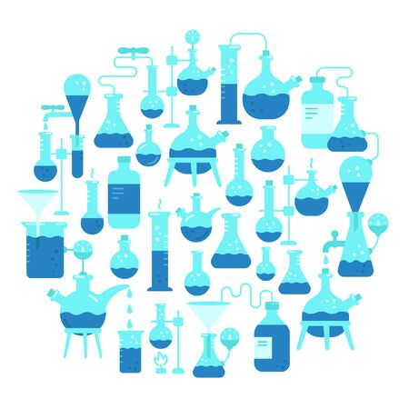 Chemistry round background. Education science. The production of chemicals kit. Diagnostic test analysis laboratory research equipment. Flat blue circle vector illustration.
