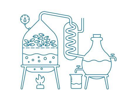 Produzione di oli essenziali. Distillati produzione oli aromatici Sostanze per profumeria Attrezzature per distillatori. Contorno linea blu piatto illustrazione vettoriale.