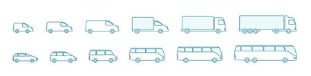 The size of the transport icon set. Compact standard long. Transportation of passengers buses and cargo trucks. From small to large. Outline contour blue line vector.