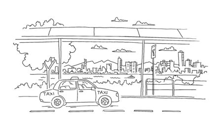 Taxi waiting for you at the ferry port. Car, city and river on the background. Hand drawn sketch vector black line.