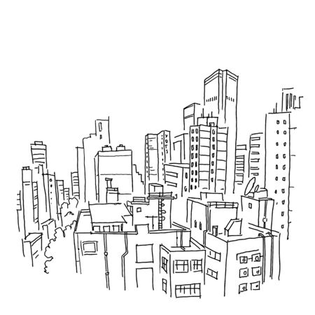 City sketch. Building architecture landscape panorama. View from window on the roofs. Ordinary city. Hand drawn black line.
