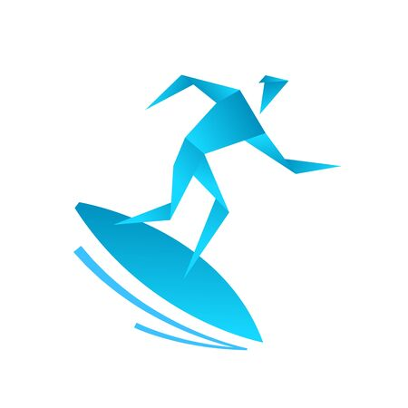 Surfing school. Man on a surfboard. Origami style. Caught a wave.