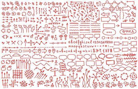 Arrows big set. Hand draw red color background pattern. Communications presentation collection. Sketch vector line outline contour illustration clipart.