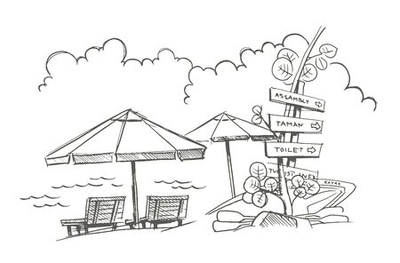 Beach sketch. Signpost, umbrellas with deck chairs. Kayak. Holidays on vacation. Vector line outline contour illustration clipart. Illusztráció