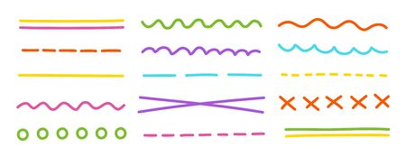 Set of underline. Different types of lines dotted, wavy and strikethrough. Flat vector. Vectores