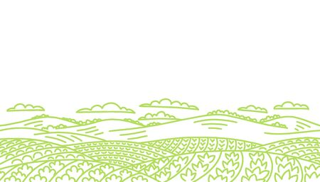 Agricultural field landscape. Vegetables garden farming. Rural countryside. Contour vector hand-drawn sketch line drawing. Copy space. Ilustração Vetorial