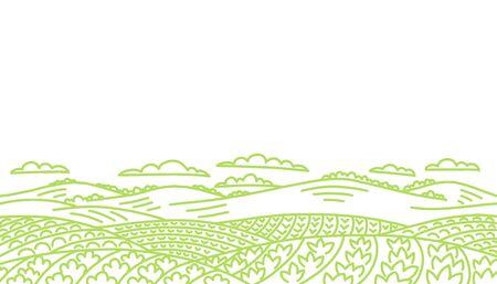 Paesaggio del campo agricolo. Coltivazione dell'orto di verdure. Campagna rurale. Disegno a tratteggio disegnato a mano di schizzo di vettore di contorno. Copia spazio. Vettoriali