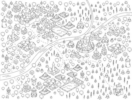 Medieval city, fantasy area map sketch kit. Mountain river and village. Map for board game. Hand drawn vector black line. Stock Illustratie