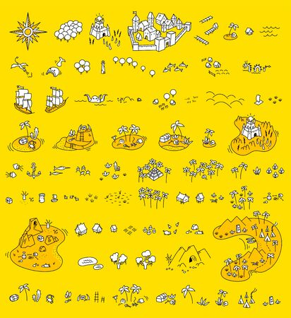Adventure islands map set. Fantasy board game creator kit. Great sailors. Mountains and trees. Sea monsters. Selection for board game. Vector yellow white colour.
