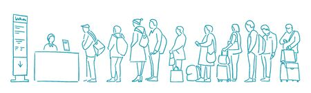People with bags stand in line. Queue. Registration for the plane. Departure of Travelers. Contour sketch hand drawn blue line vector Illustration clipart. Vector Illustration