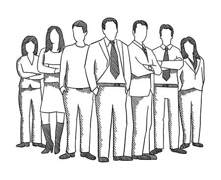 Business teamwork people sketch. Company business group office clerks. Staff and manager. Leader and boss. Hand drawn. Hatched drawing picture. Contour line vector.