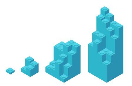 Plastic bricks. Size construction process stages. Building blocks for children construction kits. Development stage. Animation progression. Vector isometric infographic. Illustration