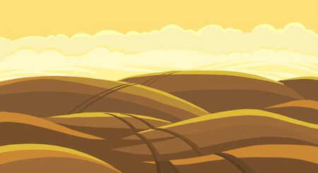 Arable field landscape. Plowed tillage. Brown dirt. Spring soil. Dust field track road. Copy space. Vector colour illustration.