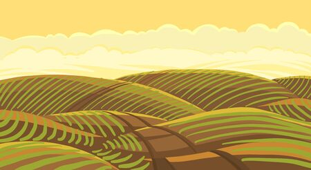Field landscape. Agricultural growing young plant shoots. Plowed earth. Brown dirt. Field track road. Crops began to sprout in the spring soil. Vector colour hand-drawn. Vettoriali