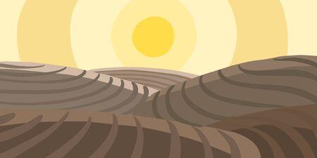 Agricultural field landscape. Plowed earth. Brown dirt. Spring soil. Vector illustration.