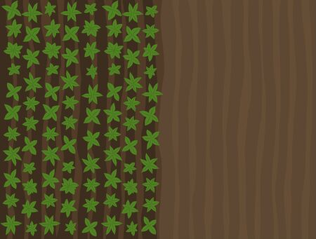 Arable field landscape top view. Plowed tillage. Growing young plant shoots. Brown dirt. Spring soil. Vector illustration background.