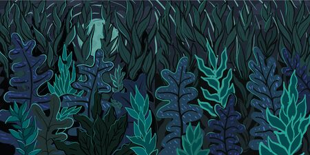 Mysterious forest. Background landscape at night time. Cartoon color hand-drawn illustration of the tropical rain forest jungle.