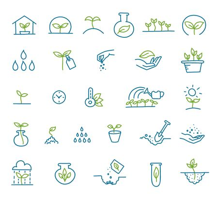 Set of icons growing seedlings. Plant shoots. Seedlings agriculture technology. Vector line hand-drawn sketch.