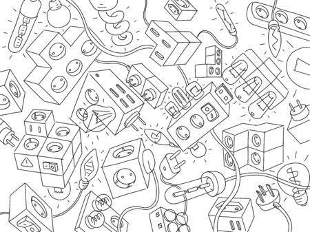 Electrics and electrical appliances. Background. Wires, bulbs and switches. Phone charger. Electro extension cord. Freehand vector line hand-drawn sketch clipart. Stock Illustratie