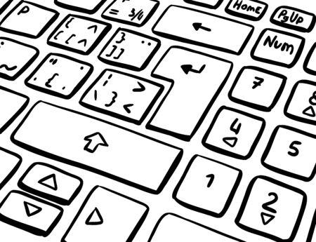 Keyboard key sketch. Enter key end shift. Black and white drawing. Black line vector illustration.