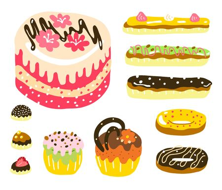 Cake muffin donuts candy and eclair. Dessert set. Sweet food. Hand drawn sketch. Vector cartoon illustration.